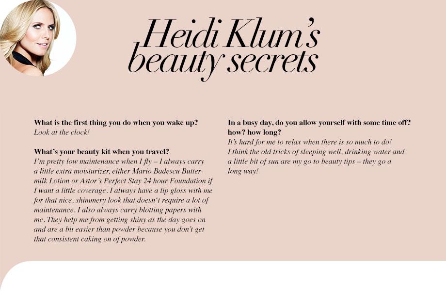 Heidi Klum's beauty secrets