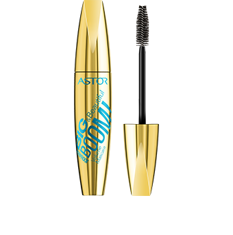 This eye opening mascara Big & Beautiful BOOM! Volume Mascara is packaged in a metallic gold pack with trendy blue graphics. Unscrew the lid to reveal the black brush inside to stay chic! Like the rest of Astor's Big & Beautiful range, the pack is satisfyingly big and curvaceous to hold – you can't miss it.