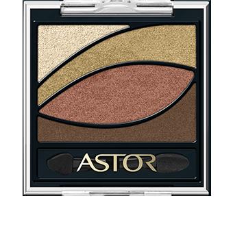 Kwadratowe, czarne opakowanie paletki EyeArtist Eye Shadow Palette jest u góry transparentne, dzięki czemu widać jego zawartość - 4 odcienie ułożone w kształt oka. Takie ułożenie jest nie tylko eleganckie, ale wskazuje także, w którym miejscu na powiece nałożyć cień. Paletka jest wykończona logiem Astor w kolorze złotym.