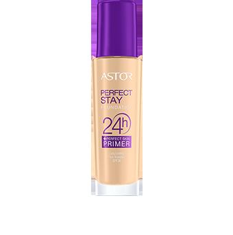Pokochasz elegancki wygląd opakowania podkładu Perfect Stay 24H  +  Perfect Skin Primer. Stylową, szklaną buteleczkę ozdabiają grafiki w kolorze fioletowym i białym, fioletowy jest także korek podkładu, nadając mu nowoczesne wykończenie.