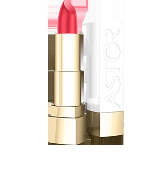 Con su diseño contemporáneo bicolor y su forma intemporal, el formato de Soft Sensation Color & Care Lipstick de Astor es femenino, chic y exclusivo. La elegante tapa blanca con el logotipo en relieve, coronada con una forma dorada, contrasta con el dorado de la base y el tubo interior. Una belleza de diseño.