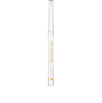 El perfilador Soft Sensation Moisturizing Lipliner, de grafismo y diseño de líneas puras, se presenta en un formato de lápiz automático retráctil de uso sencillo. Este moderno lápiz blanco, coronado con una tapa transparente, se embellece con un lujoso grafismo dorado y una elegante franja dorada con el logotipo de la marca.